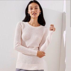 NWT Loft Cable Knit Trim Stitchy Sweater BlushPink
